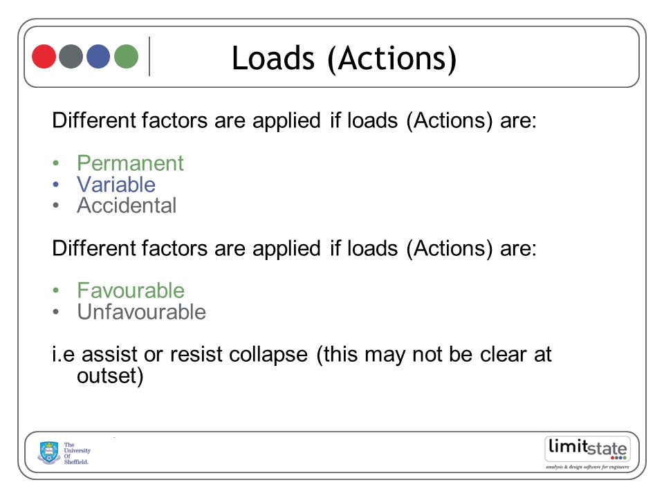 Loads (Actions) Different factors are applied if loads (Actions) are: