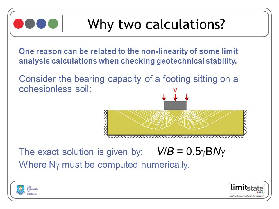 Why two calculations One reason can be related to the non-linearity of some limit analysis calculations when checking geotechnical stability.