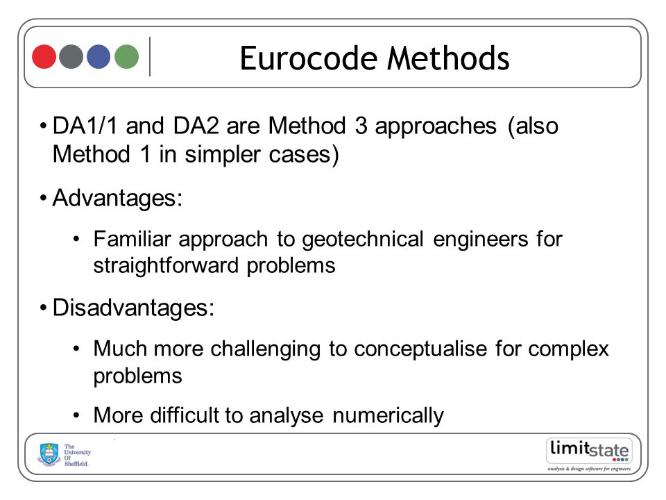 Eurocode Methods DA1/1 and DA2 are Method 3 approaches (also Method 1 in simpler cases) Advantages:
