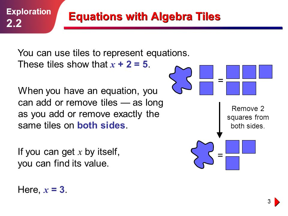 Remove 2 squares from both sides.
