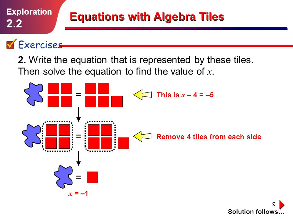 Equations with Algebra Tiles