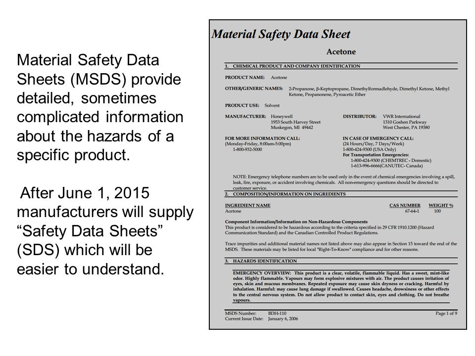Material Safety Data Sheets (MSDS) provide detailed, sometimes complicated information about the hazards of a specific product.