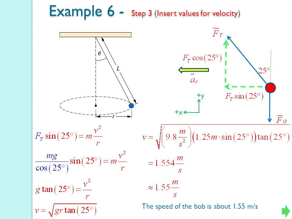 Example 6 - Step 3 (Insert values for velocity)