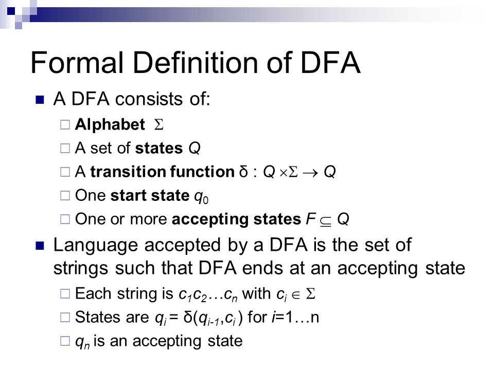 Formal Definition of DFA