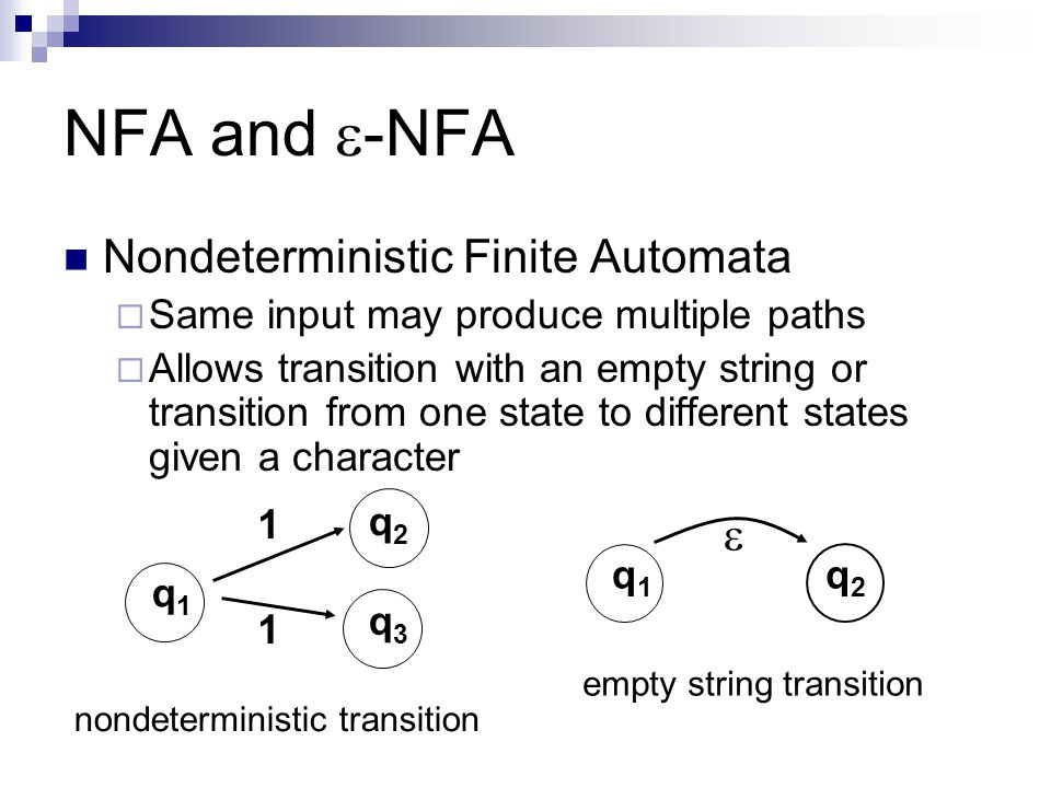 NFA and -NFA Nondeterministic Finite Automata 