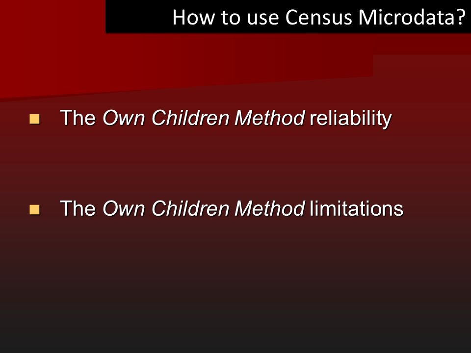 How to use Census Microdata