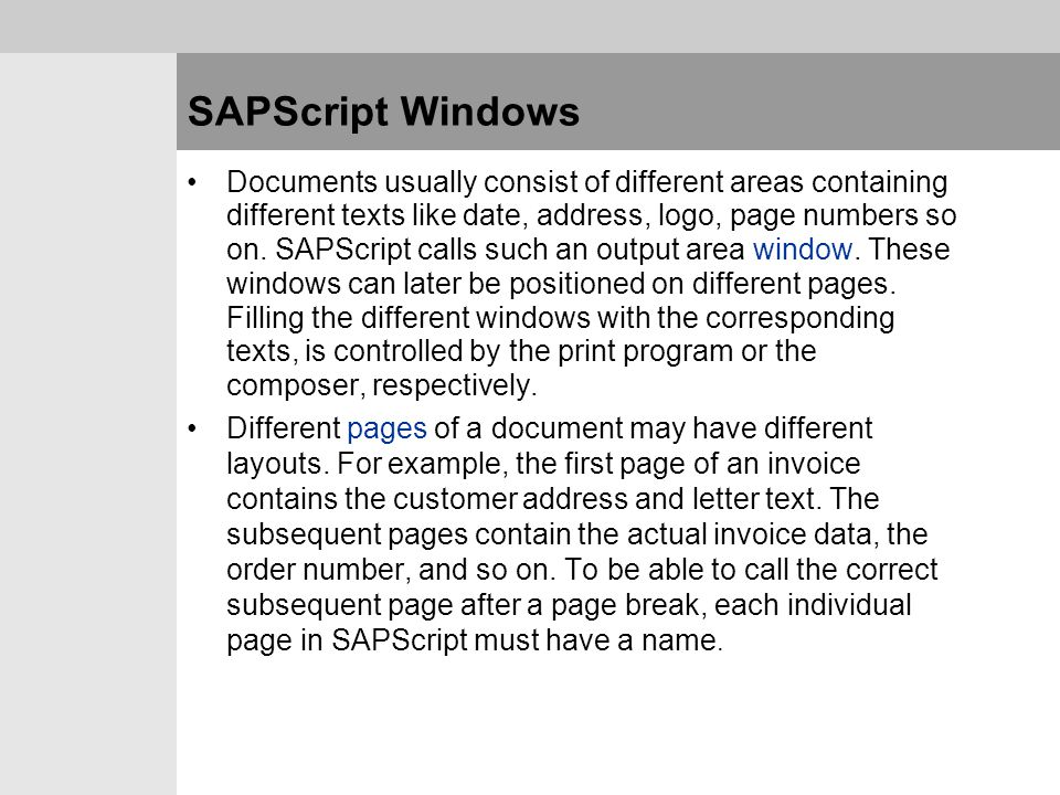 SAPScript Windows