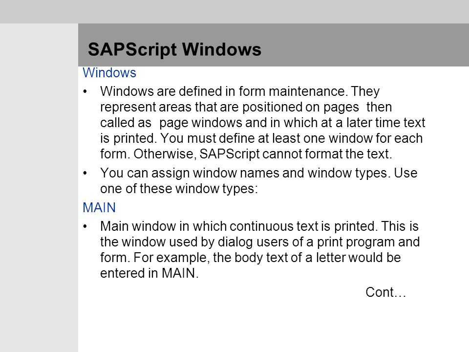 SAPScript Windows Windows
