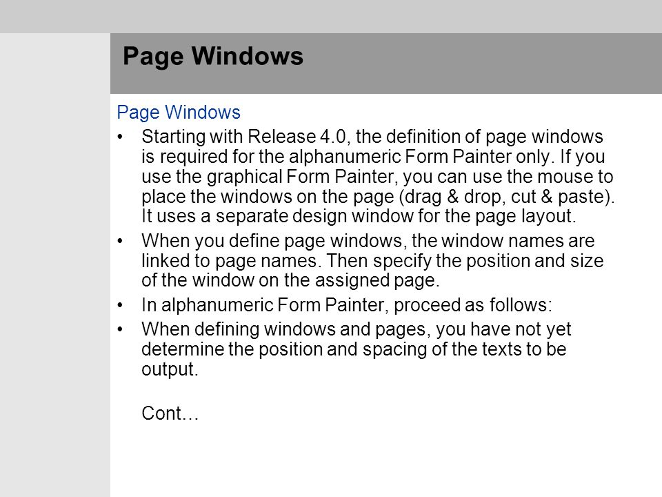 Page Windows Page Windows