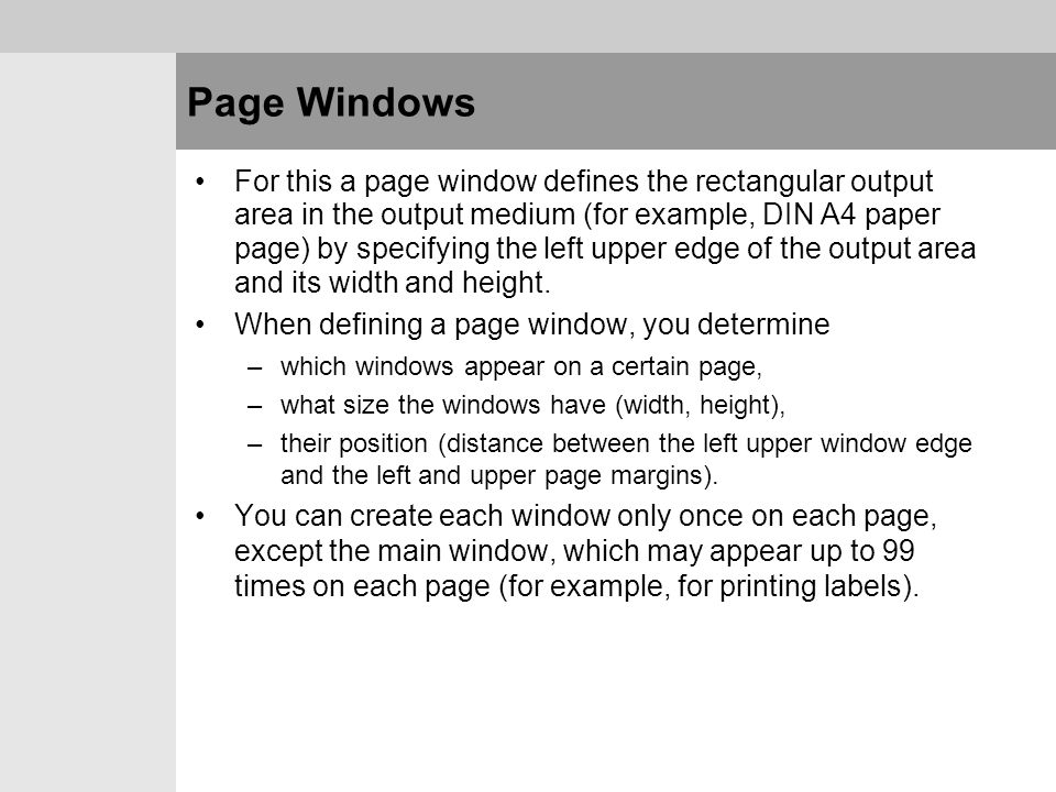 Page Windows