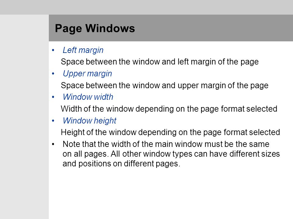 Page Windows Left margin