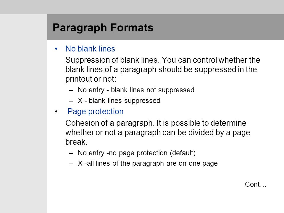 Paragraph Formats No blank lines