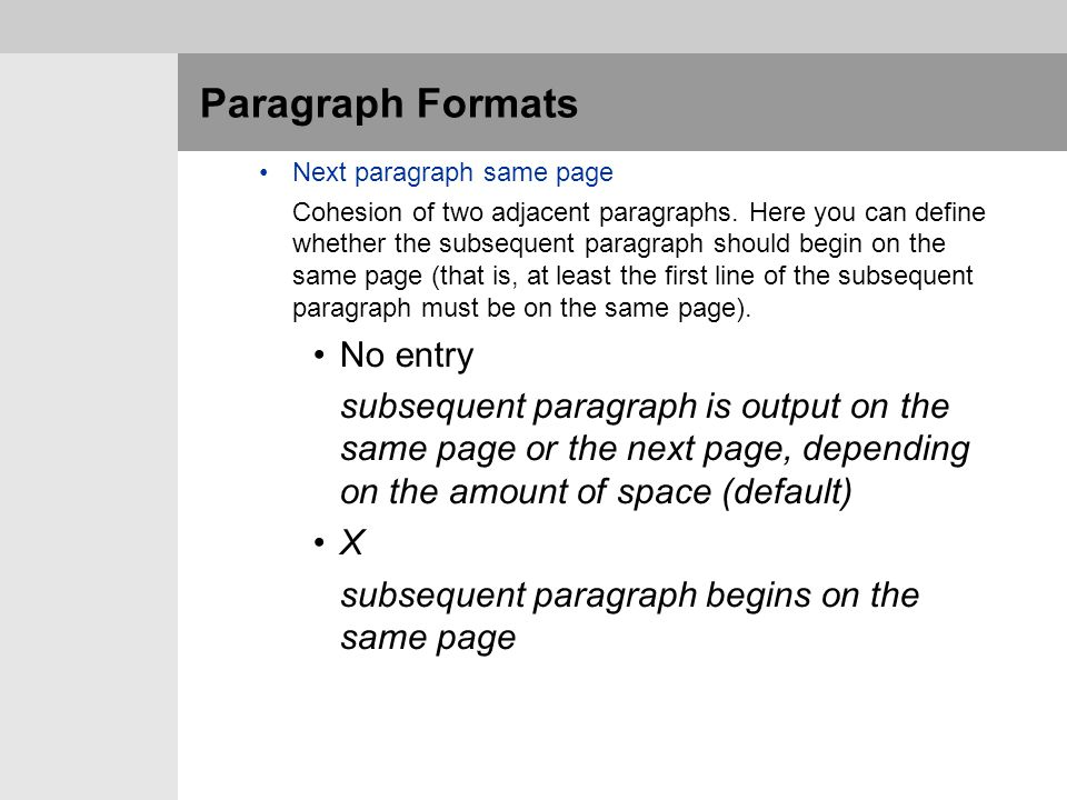 Paragraph Formats No entry