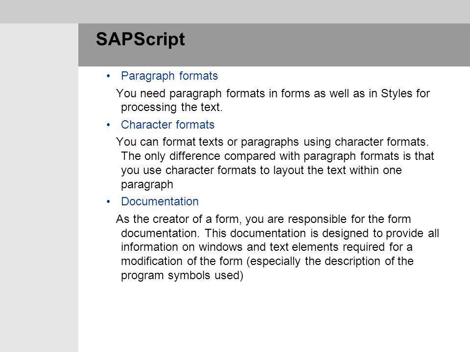 SAPScript Paragraph formats