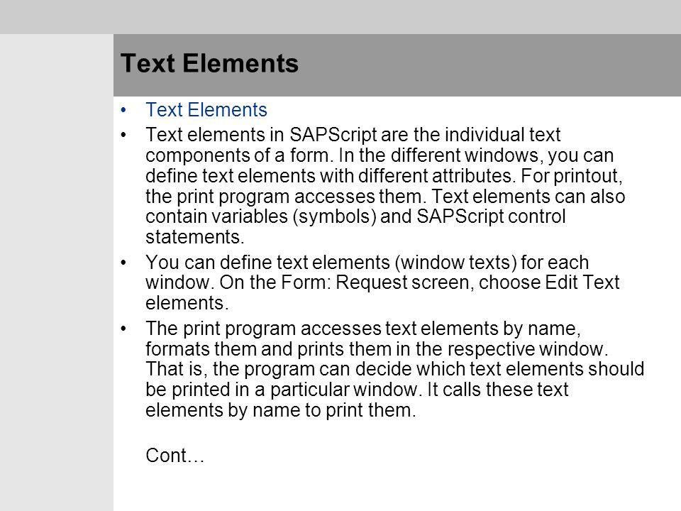 Text Elements Text Elements