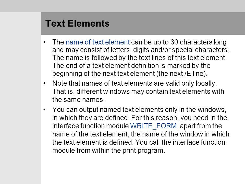 Text Elements