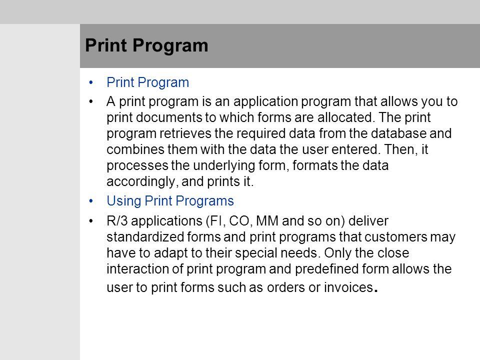 Print Program Print Program