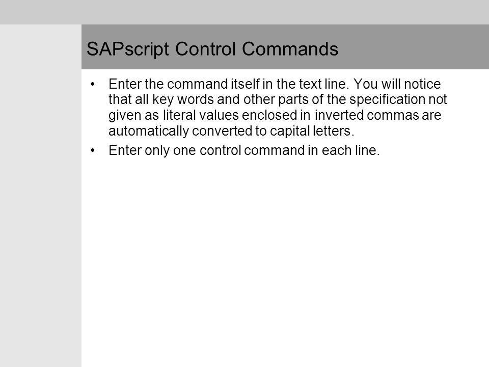 SAPscript Control Commands