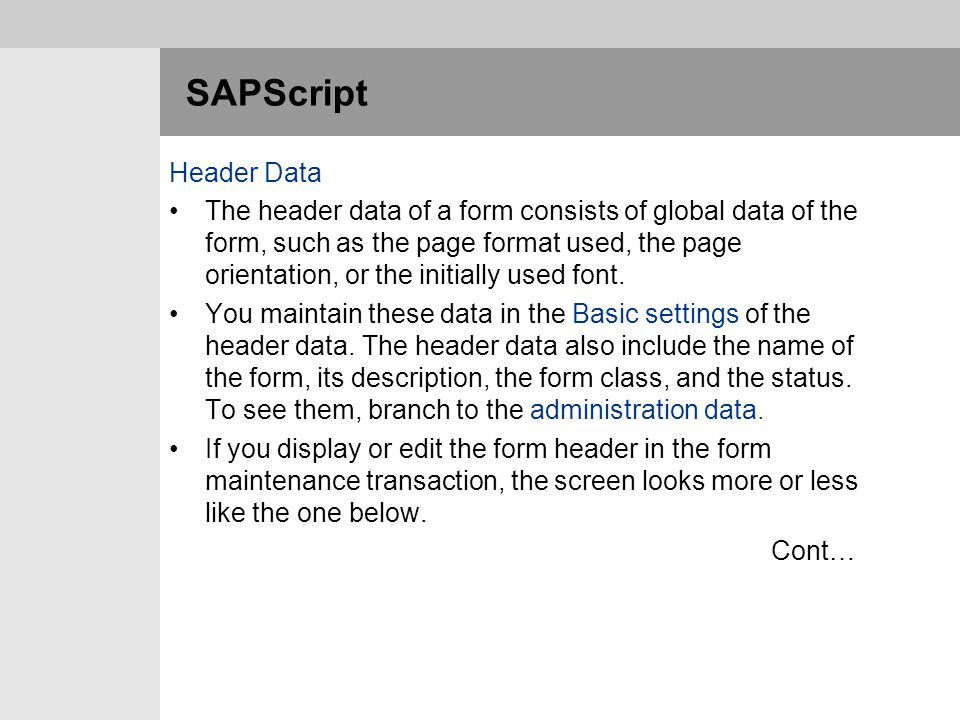 SAPScript Header Data