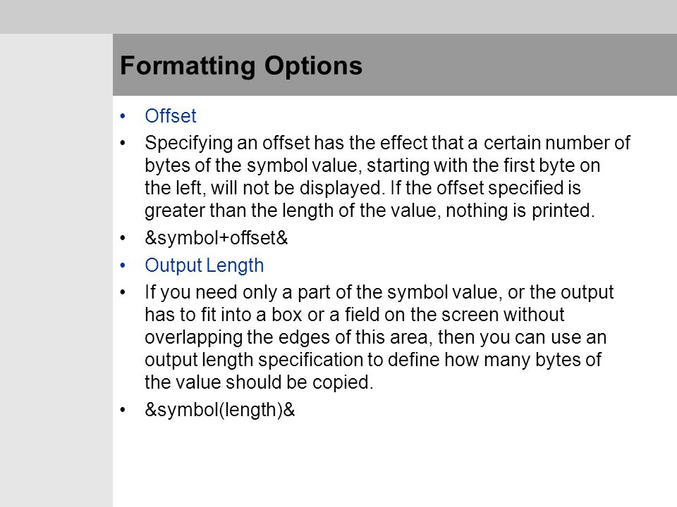 Formatting Options Offset