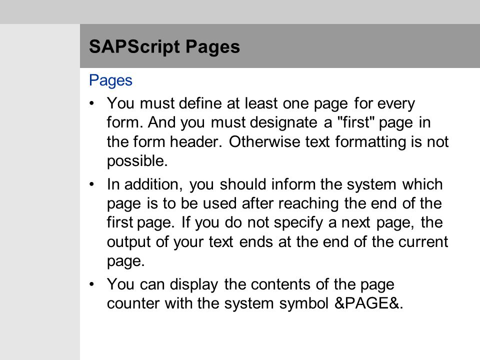 SAPScript Pages Pages