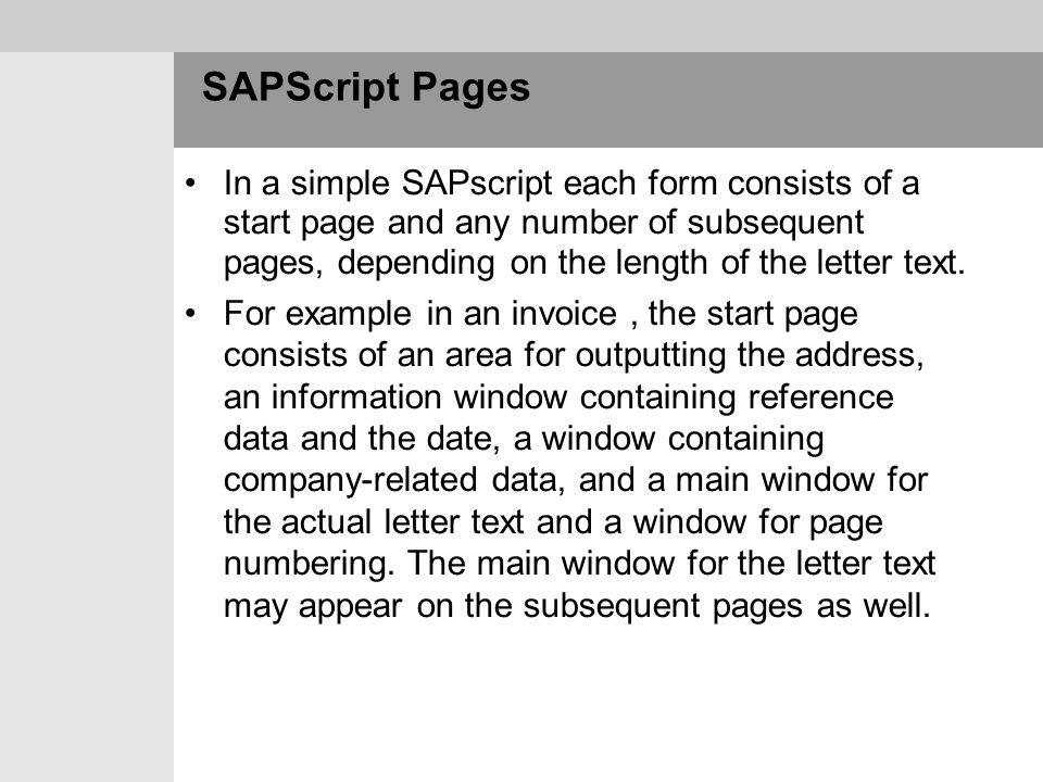 SAPScript Pages