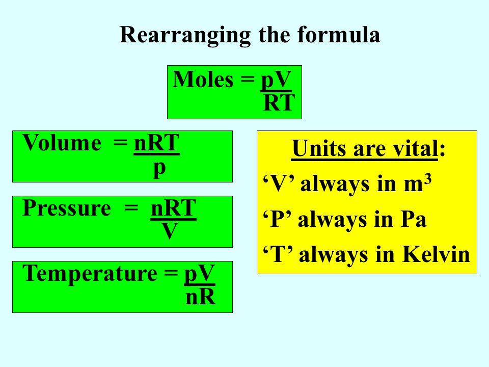 Rearranging the formula