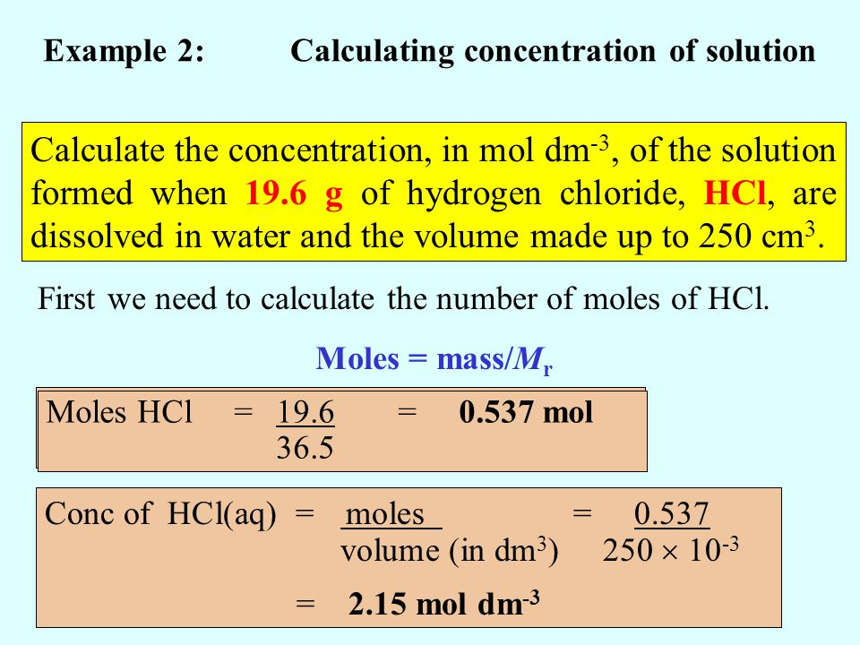 Example 2: Calculating concentration of solution