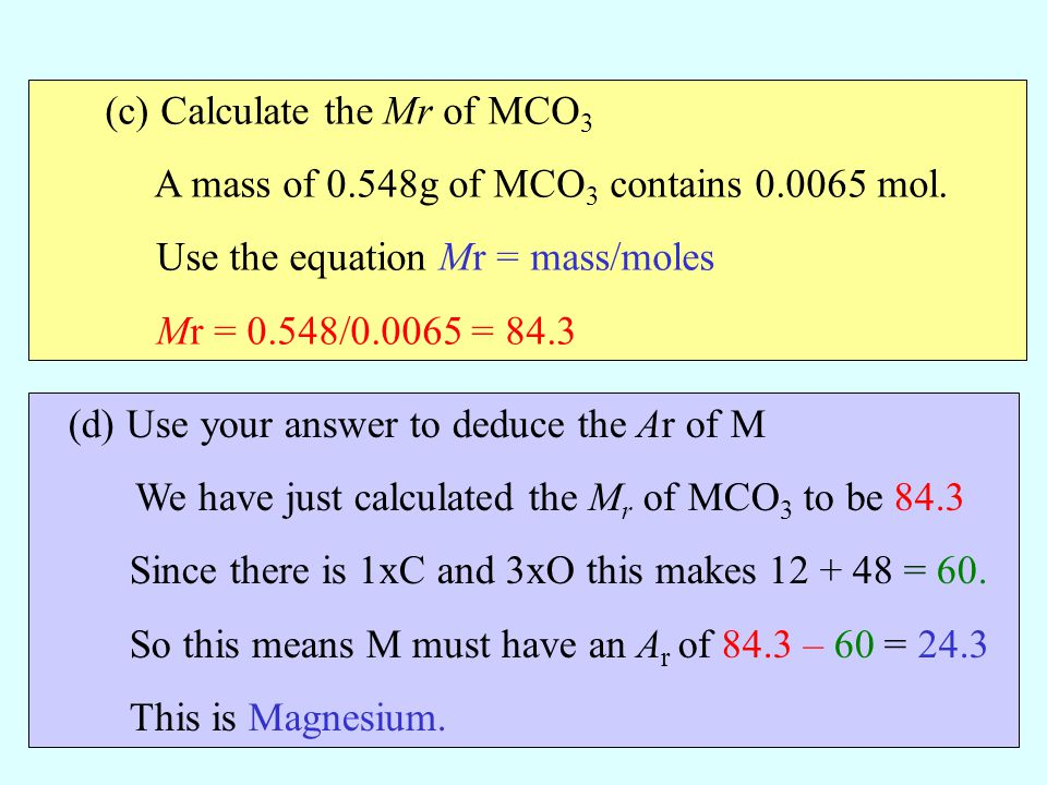 (c) Calculate the Mr of MCO3