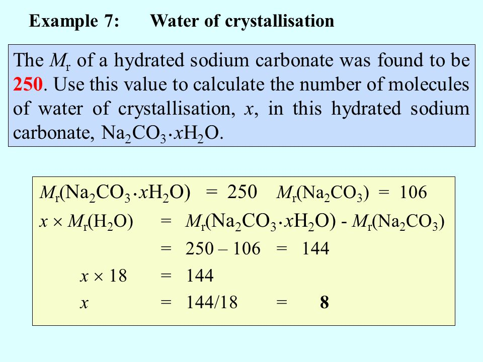 Example 7: Water of crystallisation