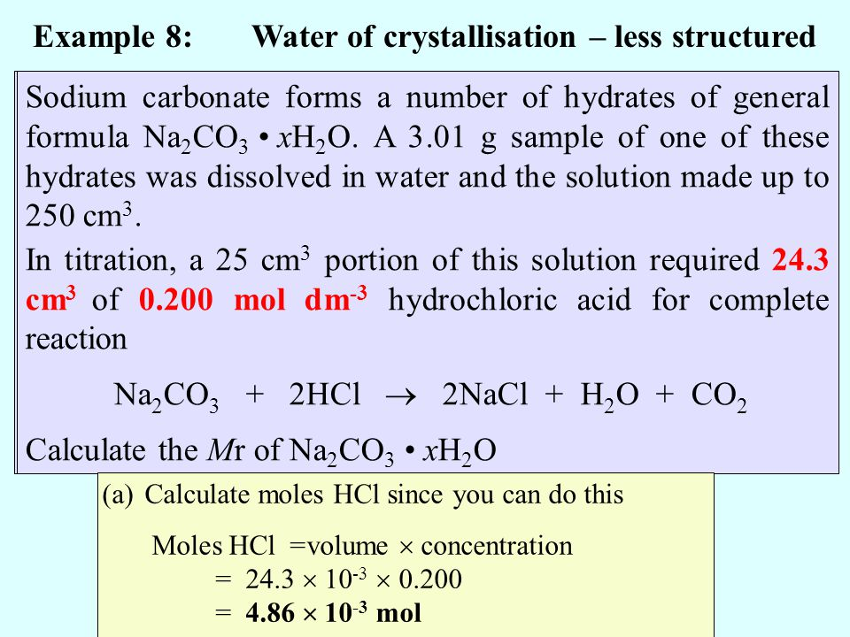 Example 8: Water of crystallisation – less structured