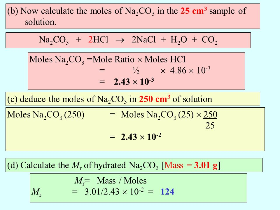 (b) Now calculate the moles of Na2CO3 in the 25 cm3 sample of solution.