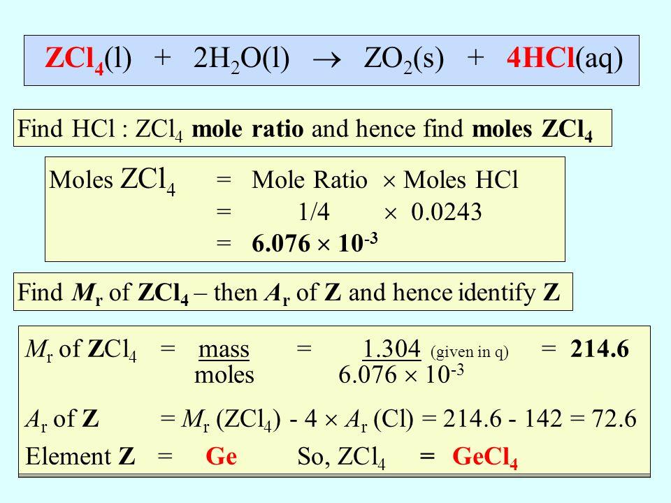 ZCl4(l) + 2H2O(l)  ZO2(s) + 4HCl(aq)