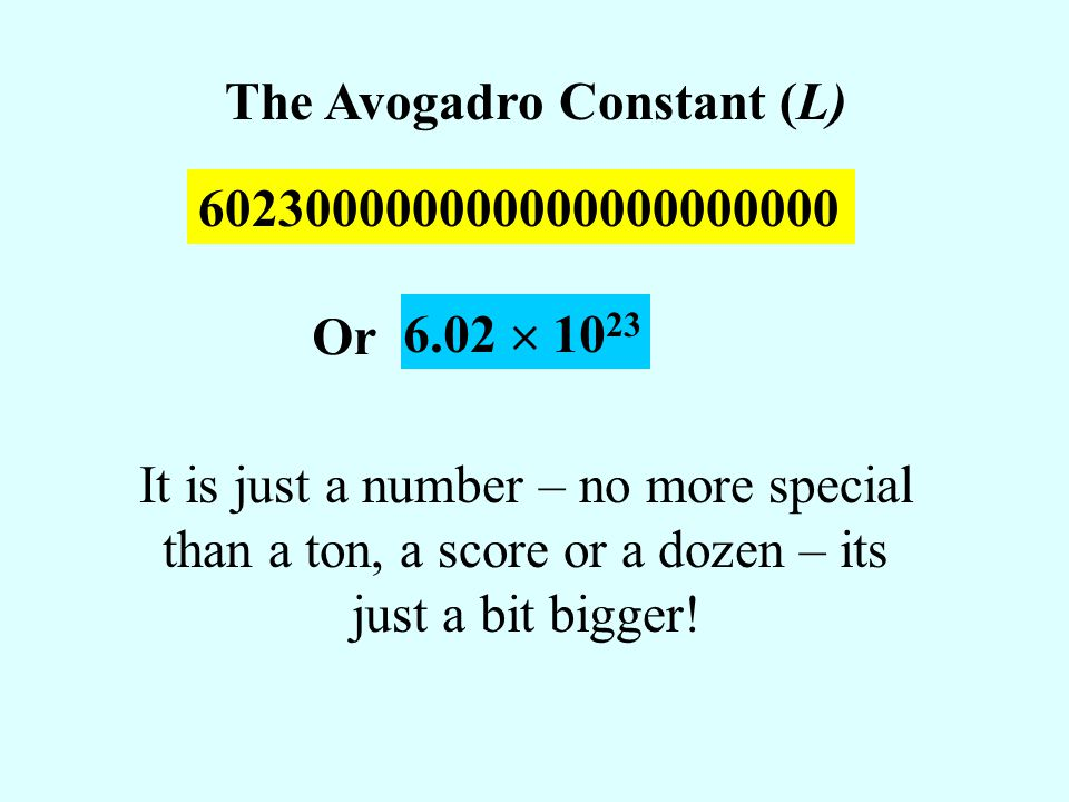 The Avogadro Constant (L)