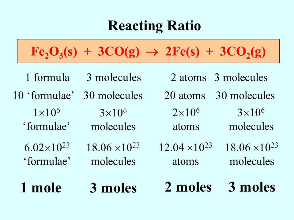 Fe2O3(s) + 3CO(g)  2Fe(s) + 3CO2(g)