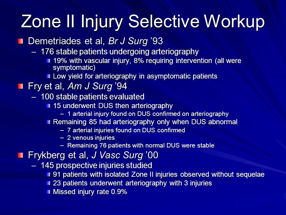 Zone II Injury Selective Workup
