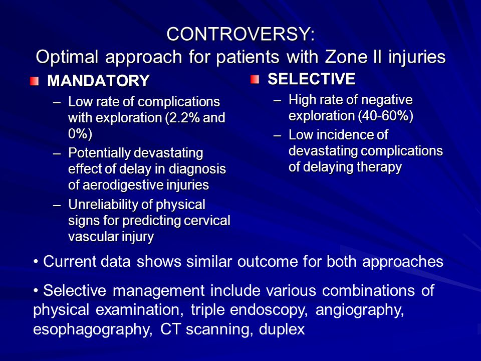 CONTROVERSY: Optimal approach for patients with Zone II injuries