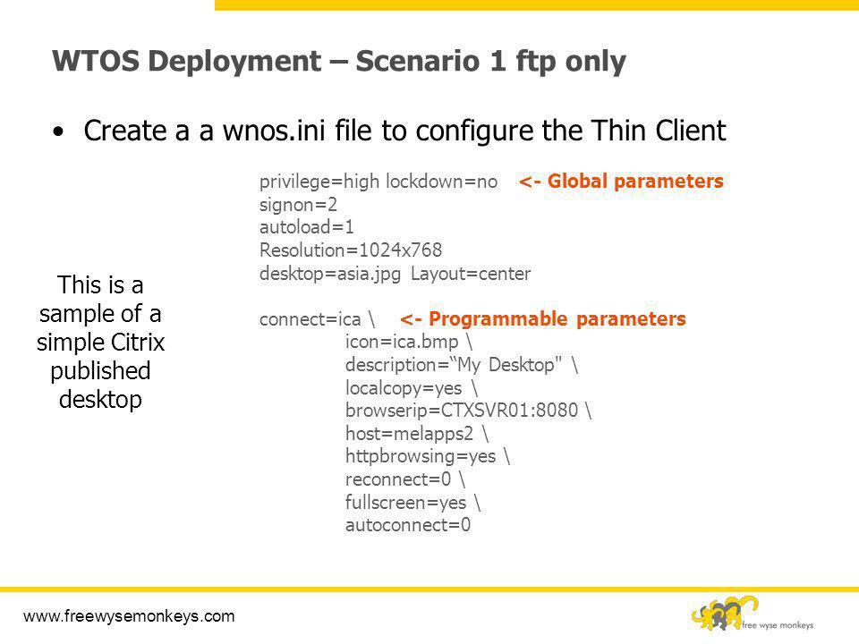 WTOS Deployment – Scenario 1 ftp only