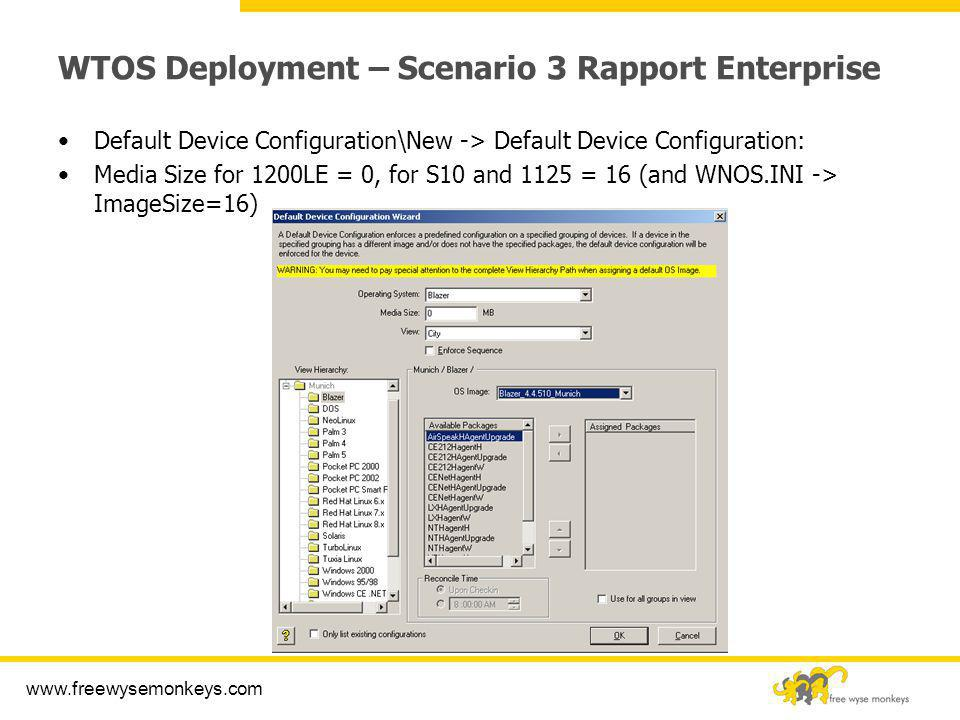 WTOS Deployment – Scenario 3 Rapport Enterprise