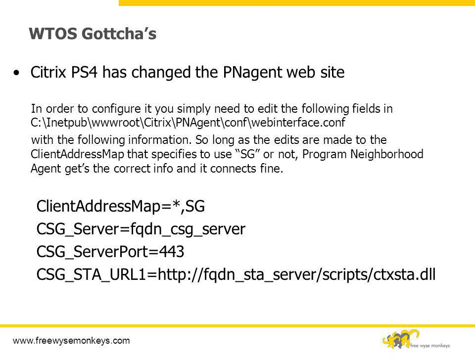 Citrix PS4 has changed the PNagent web site