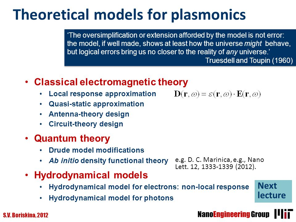 Theoretical models for plasmonics