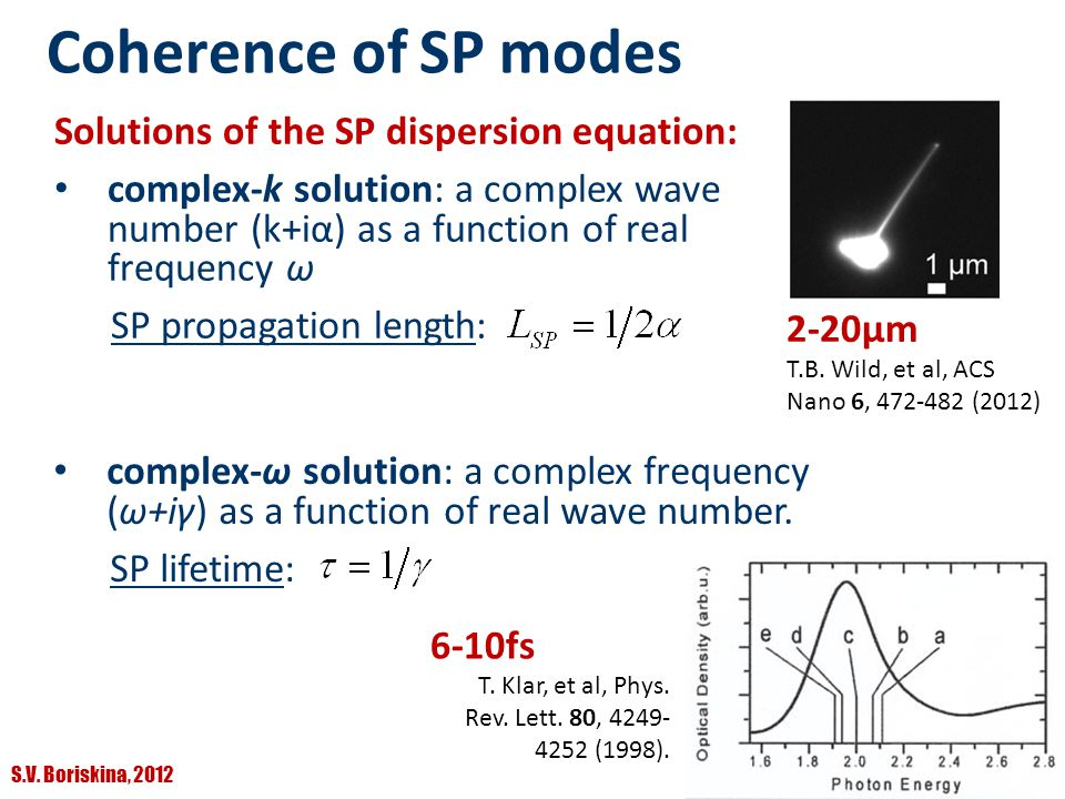 Coherence of SP modes Solutions of the SP dispersion equation: