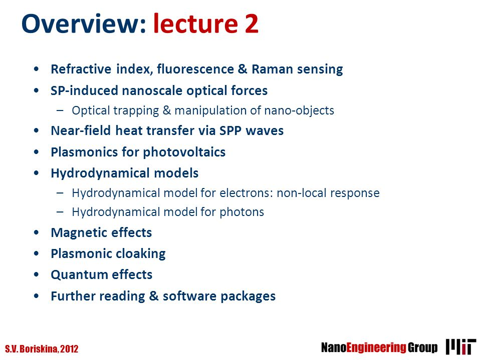 Overview: lecture 2 Refractive index, fluorescence & Raman sensing