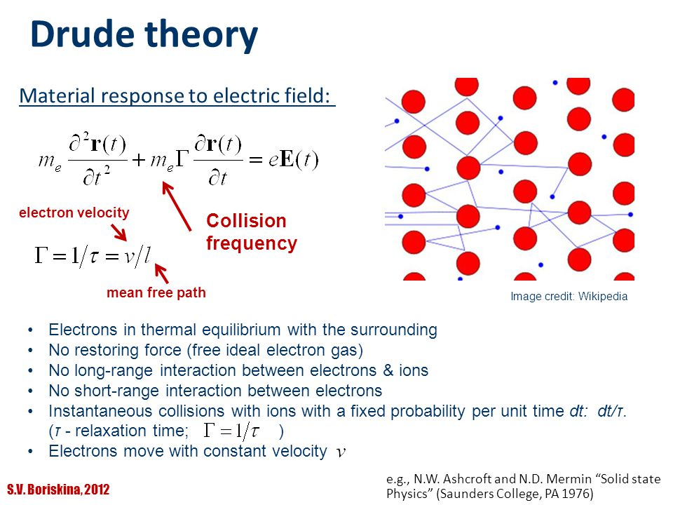 Drude theory Material response to electric field: Collision frequency