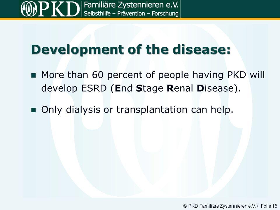 Development of the disease: