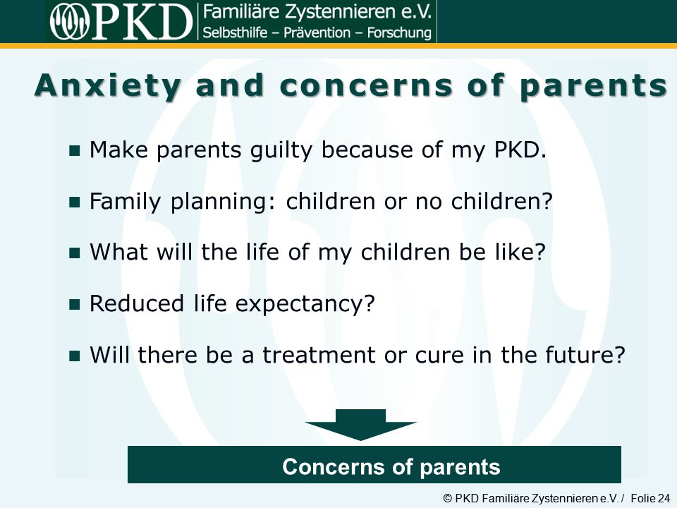 Anxiety and concerns of parents