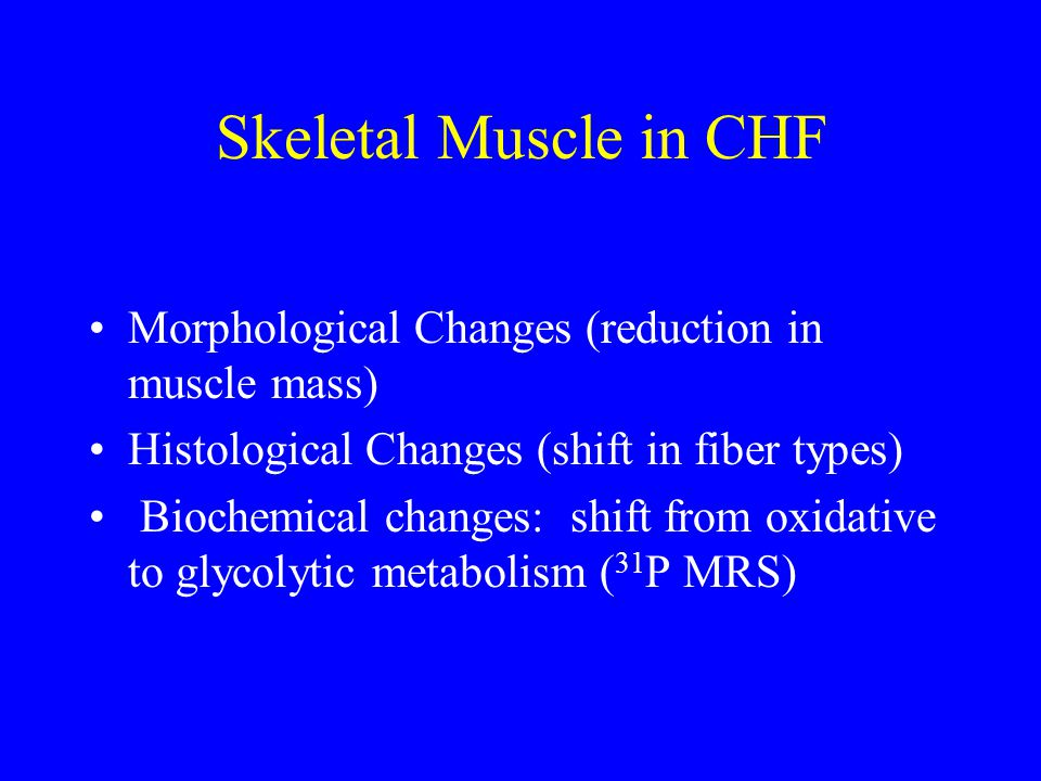 Skeletal Muscle in CHF Morphological Changes (reduction in muscle mass) Histological Changes (shift in fiber types)