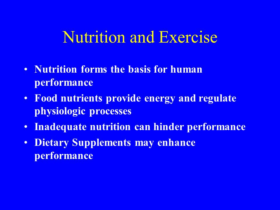 Nutrition and Exercise