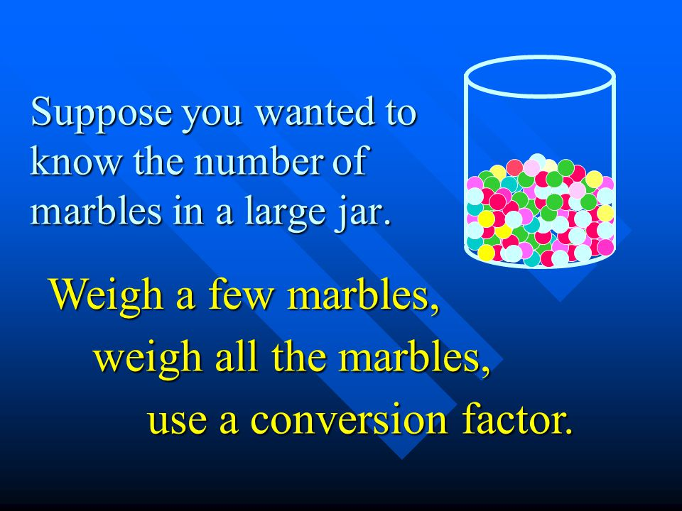 Suppose you wanted to know the number of marbles in a large jar.