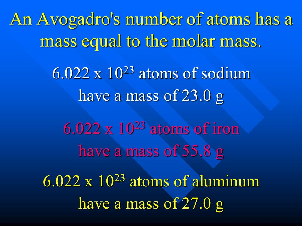 An Avogadro s number of atoms has a mass equal to the molar mass.